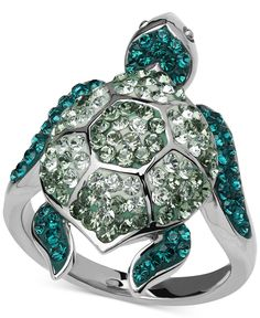 Kaleidoscope Green Swarovski Crystal Turtle Ring in Sterling Silver - Rings - Jewelry & Watches - Macy's (turtles candy families) Crystal Jewelry, Pendant Jewelry, Sterling Silver Jewelry, Silver Rings, Jewelry Rings, Sterling Sliver, Silver Pendants, Silver Jewellery, Diamond Jewelry
