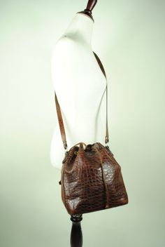 Vintage Brown CROCO Embossed Leather Drawstring by LaPouleNoire, $55.00