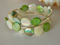 Green and White Mother of Pearl Wrap Cuff Bracelet by uniquenique, $22.00