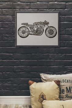 Motorcycle Posters, Cafe Racer Motorcycle, Motorcycle Art, Motorcycle Design, Man Cave Art, Minimalist Design, Gifts For Him, Colorful Backgrounds, Garage