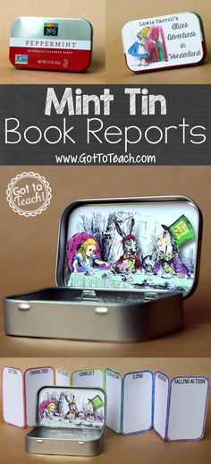 "Tin Book Report Mint Tin Book Report: A fun, ""little"" twist on the traditional book report.Mint Tin Book Report: A fun, ""little"" twist on the traditional book report. Book Report Projects, Reading Projects, Book Projects, School Projects, Teaching Reading, Teaching Tools, Teaching Resources, Reading Activities, Teaching Ideas"