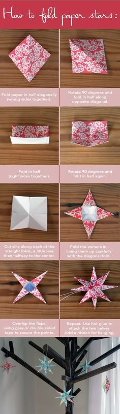 How to Fold Paper Stars, origami, paper xmas ornament Holiday Crafts, Christmas Crafts, Christmas Decorations, Christmas Paper, Christmas Stars, Origami Christmas, Christmas Ideas, Hanging Decorations, Oragami Christmas Ornaments