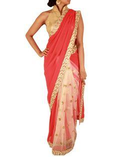 Venetian Red Georgette saree with White/Gold Net Pleats|Sweta Sutariya