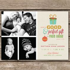 Love this etsy design...$15.00 for the download...Perfect Gift - DIGITAL Custom Christmas Holiday Birth Announcement Photo Card