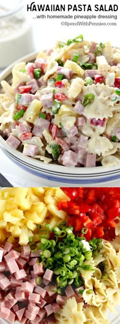 Hawaiian Pasta Salad is my favorite cold pasta salad recipe! Ham & sweet pineapp… Hawaiian Pasta Salad is my favorite cold pasta salad recipe! Ham & sweet pineapple, tossed with a homemade pineapple dressing is a perfect side or main! Potluck Recipes, Cooking Recipes, Healthy Recipes, Detox Recipes, Potluck Dishes, Grilling Recipes, Summer Recipes, Salad Bar, Soup And Salad