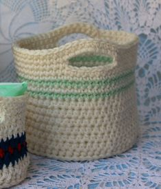 Crochet Pattern for Large Basket with Handles by PatternsByKrissy