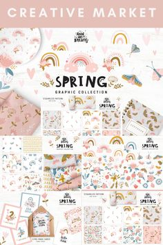 Lovely Light Pink Colour Palette Digital Design Assets Spring Collection - including Soft Seamless Patterns · Floral, Rainbow, Butterfly Graphic Elements · Pre-made Cards | #photoshop #illustrator #digitaldesign #creativeassets #graphicdesign #graphicelements #patterndesign #logodesign #springdesign #cutedesign #creativemarket #affiliatelink Fabric Design, Pattern Design, Rainbow Butterfly, Spring Design, Light Pink Color, Photoshop Illustrator, Pattern Mixing, Spring Collection, Cute Designs