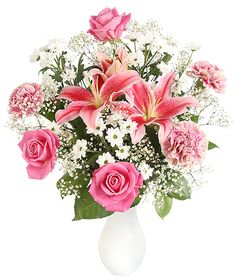 Soft blushes of strawberry pink and creamy white weave through these gorgeous blossoms. With scented oriental Lily, pretty Roses, classic Carnations, delicate Gypsophila and cute Chrysanthemums this pretty bouquet will definitely be the most popular item on the menu