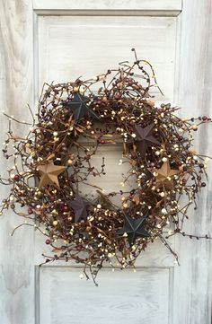 Grapevine Wreath-Pip Berry Wreath with Barn by ThePumpkinLadies