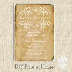 Rustic Chic Printable Wedding Invitation DIY by tatteredvintage, $10.00