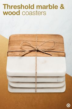 Party on—but first, make sure to grab a coaster. The two-in-one modern & natural vibe make this set of marble and wood coasters at home on any table. Bring them along for an easy & chic host/hostess gift—especially if you've got a great cocktail pairing in mind.