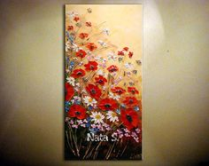 "Original Abstract Wildflower Painting, Palette Knife, Impasto, Poppy, Wildflower, Home & Office Decor 30"" x 15"" by Nata ...MADE to ORDER"