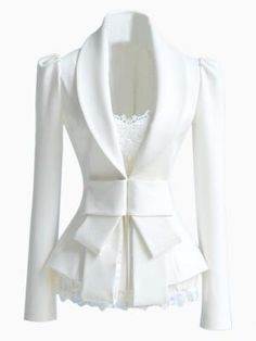 Slim fit White Blazer with Bow Waist from Choies.com