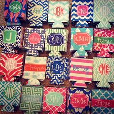 Monogrammed koozies https://www.facebook.com/HaymarketDesigns