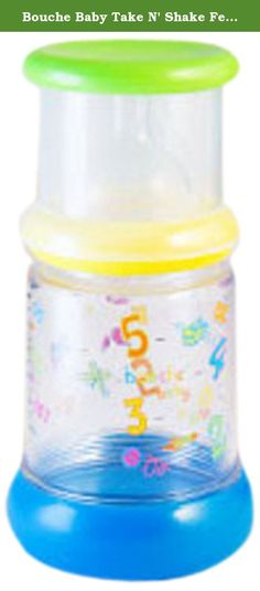 Bouche Baby Take N' Shake Feeding Bottle, 9 Ounce. This doctor-approved, ultra-safe system is BPA-free, includes colic prevention nipples, and has passed international safety standards. This safe, convenient, multi-stage baby to toddler feeding system is also baby approved. In independent focus groups, babies and toddlers selected this bottle over others due to its whimsical, toy-like colors and design. The system is designed to follow the baby through to the toddler years as it easily...