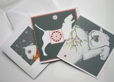 Bull Terrier Mixed Christmas Cards Pack of 6