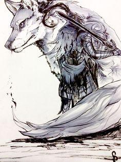 Inktober day 6 (I skipped 5 since I was sick). Knight of Gwyn , Artorias the abyss walker and his companion Sif from Dark souls. Sif Dark Souls, Dark Souls Artorias, Arte Dark Souls, Soul Saga, Bloodborne Art, Soul Tattoo, Wolf Tattoos, Dark Fantasy Art, Fantasy Characters