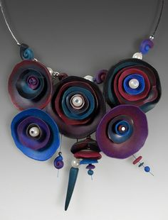Polymer clay, pearls, silver wire on steel wire