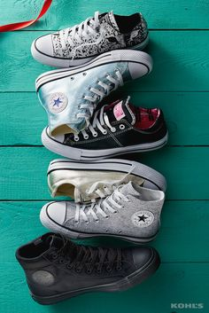 When they're your favorites, you get one in every shape and color. Featured product includes: (her) Converse Chuck Taylor All Star metallic shoes, metallic glacier high-top sneakers, Madison shoes, sparkle knit high-top sneakers, animal print shoes and (him) Converse Chuck Taylor All Star water-resistant boots. Get your kicks at Kohl's.