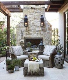 The Happiness of Having Yard Patios – Outdoor Patio Decor French Country Living Room, French Country Decorating, French Country Fireplace, Country Bedrooms, Southern Living, Rustic French, French Cottage, French Decor, French Country Porch