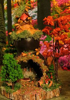 Fairy House Autumn Gourd Reader Miniature by WoodlandFairyVillage, $34.99