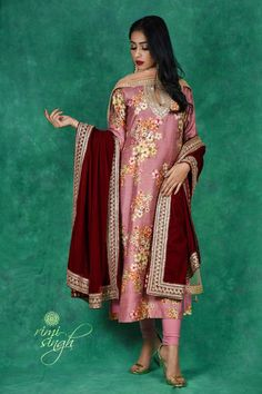 Indian Clothes, Indian Outfits, Lilac Grey, Pink, Velvet Shawl, Organza Saree, Picture Credit, Hand Embroidery, Floral Prints