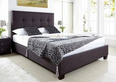 Kaydian Walkworth Ottoman Storage Bed - Slate Fabric