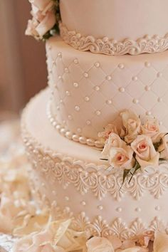 pink vintage wedding cakes with lovely lace details