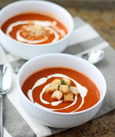 Roasted Red Pepper Soup with Goat Cheese Cream & Buttered Croutons by cookingforkeeps #Soup #Red_Pepper