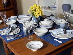 Joan Hannah's classic blue and white pottery will fill your table with timeless New England charm.