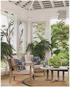 Coastal Living February 2012. LOVE this outdoor tropical space!  Blue & white &  green #whitecoastallivingrooms