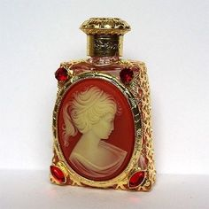 Czech handmade CAMEO rhinestones glass perfume bottle.