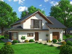 Lenka 23 - Perspektiva Duplex House Plans, Prefabricated Houses, House Front Design, Cool Rooms, Home Fashion, Shed, Outdoor Structures, Cabin, House Styles