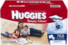 Huggies Simply Clean Baby Wipes, will last a couple days even weeks due to large amount.