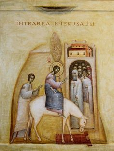 Entry into Jerusalem by Ioan and Camelia Popa Religious Images, Religious Icons, Religious Art, Byzantine Icons, Byzantine Art, Christian Images, Christian Art, Greek Icons, Palm Sunday
