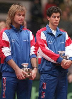 Agassi / Sampras at Davis Cup (1991) Youngsters then !