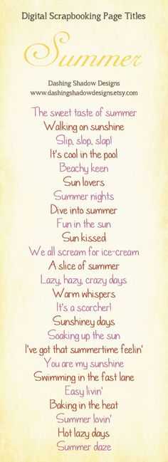 Scrapbook Page Title Ideas - Summer ... Love all these title pages!