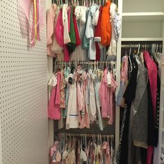 This closet was designed to have more hanging space in an oddly shaped closet - AND more shelves. Another Happy Client :) Supply Room, Organizing, Organization, Wardrobe Rack, Storage Spaces, Design Projects, Shelves, Happy, Closet