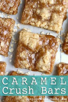 Caramel Crush Bars - This exquisite dessert will melt in your mouth and leave you begging for more! I bet you can't eat just one! Easy No Bake Desserts, Delicious Desserts, Yummy Food, Yummy Drinks, Baking Recipes, Cookie Recipes, Dessert Recipes, Bar Recipes, Candy Recipes