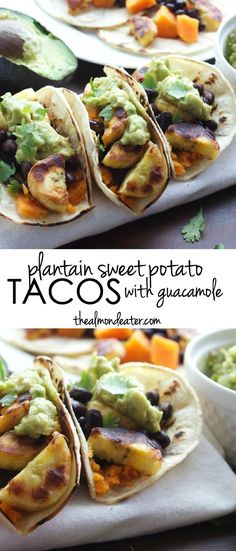 Plantain Sweet Potato Tacos with Guacamole | Delicious meat-free tacos with sweet potatoes, plantains and black beans | #vegan | thealmondeater.com