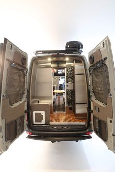 Camper van sleeps four and hides a clever bathroom - Curbed Van Conversion Layout, Sprinter Van Conversion, Camper Van Conversion Diy, Motorhome, Sleeper Van, Mercedes Sprinter Camper, Benz Sprinter, Mercedes Van, Truck Accessories