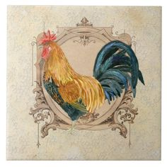 Shop Vintage Style French Country Rustic Barn Rooster Ceramic Tile created by AudreyJeanne. Personalize it with photos & text or purchase as is!