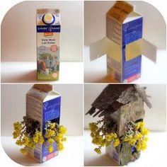 Daily Colours : Fairy Houses - DIY Milk Carton Flower Fairy Home #fairygardening