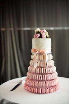 ombre macaron tower and a small cake #weddingcakes