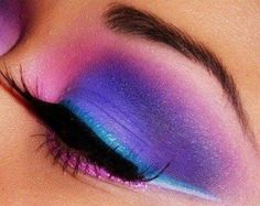 neon- pink, purple, blue #eyeshadow #winged
