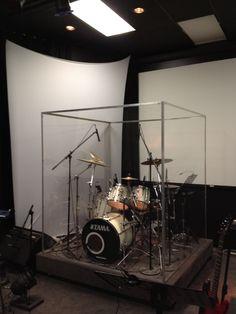 Printer Metal Technology Printing Videos Architecture Home Drums Studio, Music Studio Room, Studio Setup, Drum Cage, Diy Drums, Acrylic Chair, Drum Room, Church Stage Design, Recording Studio Home