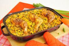 Pečená kuřecí stehna s rýží z jednoho pekáče Poultry, Macaroni And Cheese, Chicken Recipes, Food And Drink, Treats, Cooking, Ethnic Recipes, Red Peppers, Ground Chicken Recipes