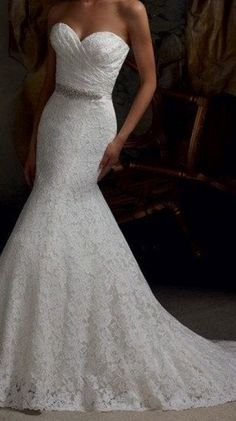 New white / ivory Lace Mermaid wedding dresses lace bridal dress lace wedding dress Free shipping