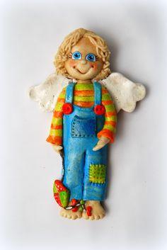 anioł z masy solnej, chłopczyk z latawcem, salt dough angel