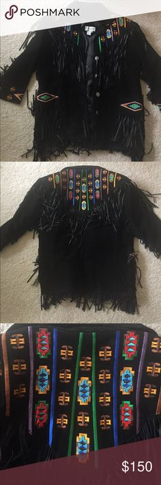 Vintage Leather Fringe Beaded Jacket Absolutely breathtaking. Excellent condition, this is a gorgeous jacket 100% leather shell, has fringe and beading. My mom bought this in the 80s and never really wore it. Please let me know if you have any questions or want more pictures. This would be great for festivals and would seriously stun your friends. Not Free People. Free People Jackets & Coats